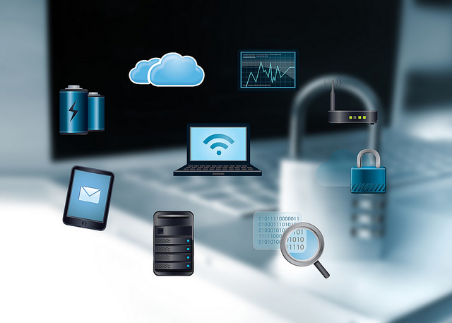 Image of icons to represent securing of computer data